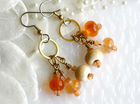 Warm Apricot Lampwork Drop Earrings