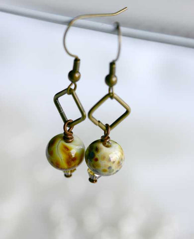 Warm Sand Amber and Brass Drop Earrings