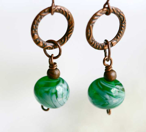 Antique Copper Earrings with Lampwork Beads