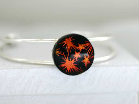 Fireworks Fused Glass Bangle Bracelet