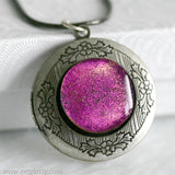 Round Antique Silver Locket Necklace with Fused Glass Center