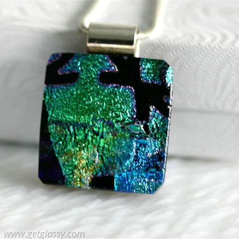 Puzzled Dichroic Fused Glass Pendant
