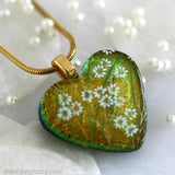 Glass Heart Dichroic Fused Glass Pendan