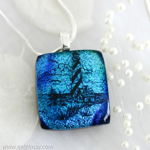 Blues Lighthouse Dichroic Fused Glass Pendant