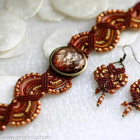 Micro Macrame Earrings in Copper