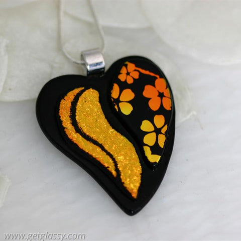 Heart Dichroic Fused Glass Necklace