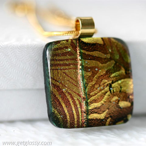 Animal Print Dichroic Glass Pendant Necklace