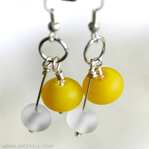Yellow Lampwork Beaded Earrings