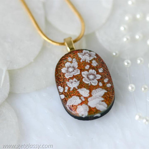 Copper Flowers Dichroic Fused Glass Pendant