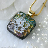 Gold Flowers Dichroic Fused Glass Pendant