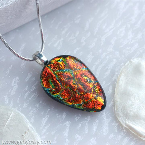 Fiery Red Dichroic Fused Glass Pendant Necklace