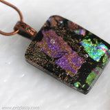 Camo Dichroic Glass Pendant Necklace