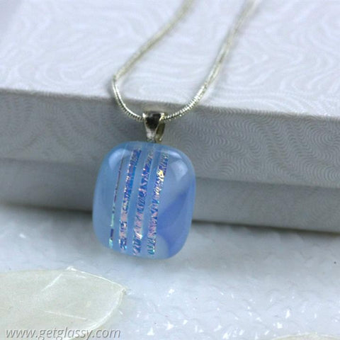 Petite Soft Blue Dichroic Fused Glass Pendant