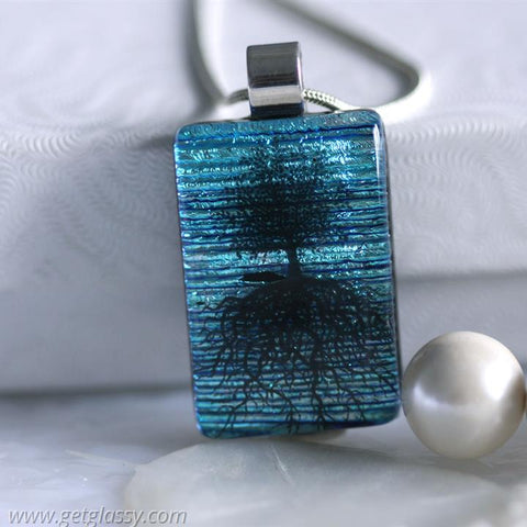 Tree of Life Dichroic Fused Glass Pendant