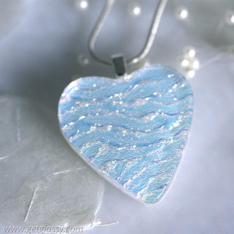 White Heart Dichroic Fused Glass Pendant Necklace