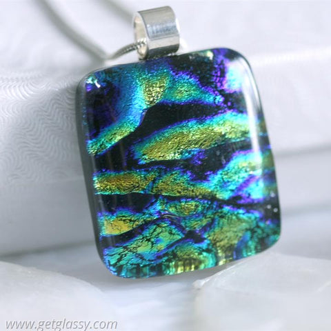 River Dichroic Fused Glass Pendant Necklace