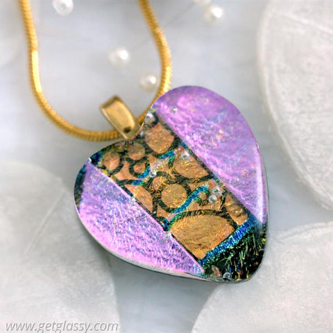 Heart Dichroic Fused Glass Pendant Necklace