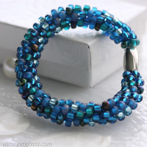 Kumihimo Bracelet in Ocean Blues