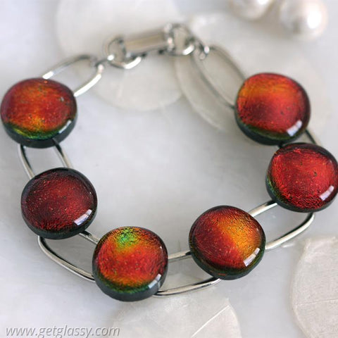 Red Hot Dichroic Glass Link Brace