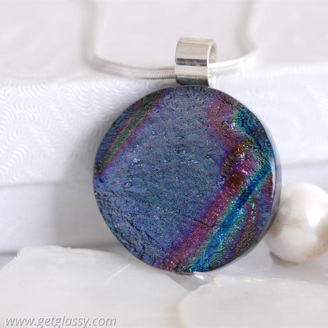 Round Dichroic Fused Glass Pendant Necklac