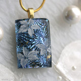 White Flower Dichroic Pendant Necklace