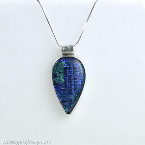 Teardrop Sterling Silver Dichoric Glass Necklace