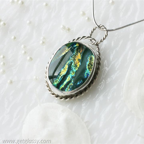 Oval Sterling Silver Dichoric Glass Necklace