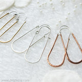 Sterling Silver Elongated Hoop Earrings