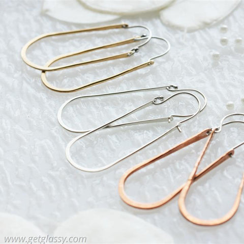Copper Elongated Hoop Earrings