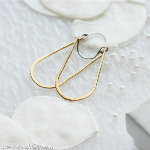 Jewelers Brass Elongated Hoop Earrings