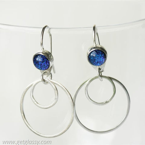 Sterling Silver and Fused Glass Hoop Earrings