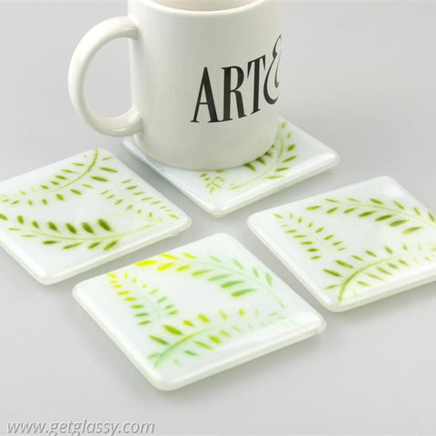 Fern Leaves Fused Glass Coasters