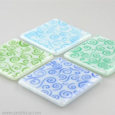 Cool Swirls Fused Glass Coasters