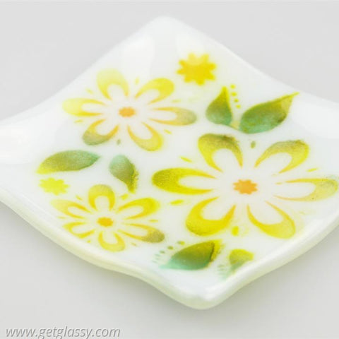 Flowered Fused Glass Soap Trinket Candle Dish