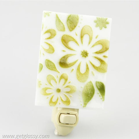 Green Flowers Fused Glass Soap Dish