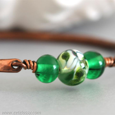 Copper and Lampwork Beads Bangle Bracelet