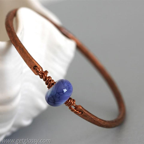 Copper and Periwinkle Lampwork Beads Bangle Bracelet