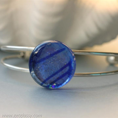 Blue Fused Glass Cuff Bracelet