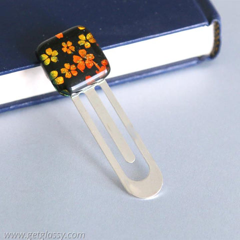 Orange Flowers Book Mark Dichoric Glass
