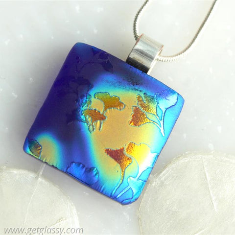 Ginkgo Leaves Satin Dichroic Glow Fused Glass Pendant