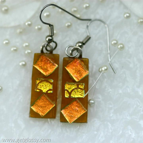 Amber Drop Fused Glass Earrings