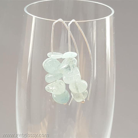 Aquamarine Chips and Silver Earrings