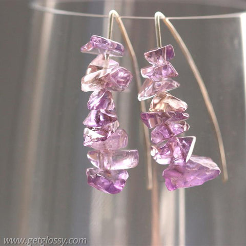 Amethyst Chips and Silver Earrings