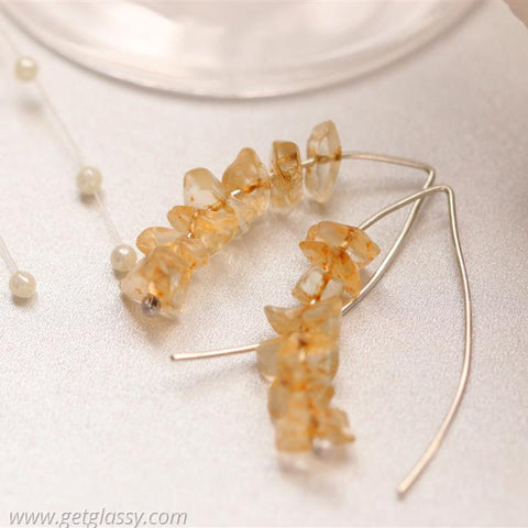 Citrine Chips and Silver Earrings
