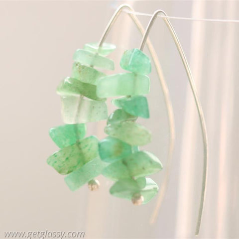 Jade Chips and Silver Earrings