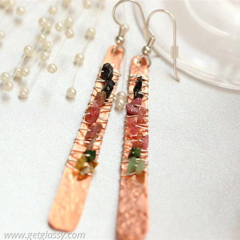 Tourmaline and Copper Drop Earrings