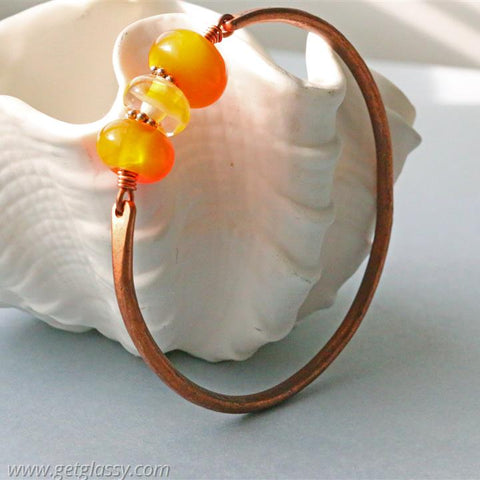 Copper and Orange Lampwork Beads Bangle