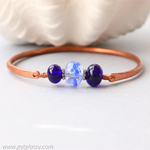 Copper and Blue Lampwork Beads Bangle