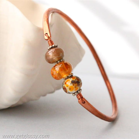 Copper and Amber and Brown Lampwork Beads Bangle