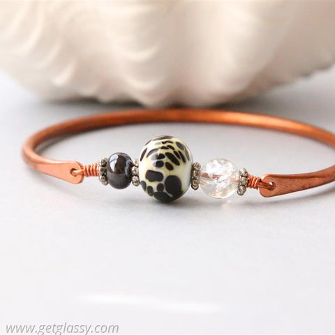 Copper and Black White Lampwork Beads Bangle
